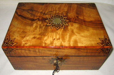LOVELY UNUSUAL ANTIQUE WALNUT & MARQUETRY WRITING SLOPE with key
