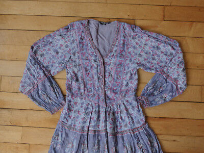 Indian Gauze Vintage Dress Hippie Boho Floral Festival Style 1970's