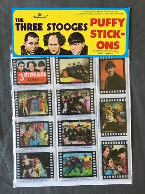 The Three Stooges 3D Puffy Stickers 1988  Imperial Series 2 Misprint
