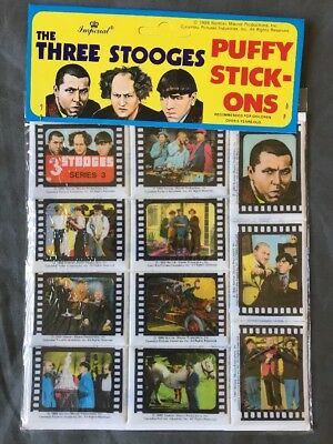 The Three Stooges 3D Puffy Stickers 1988  Imperial Series 3