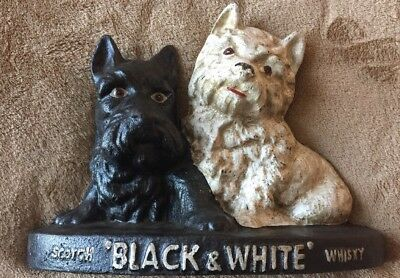 Vintage Cast Iron Black & White Scotch Whisky Scottie Terrier Dogs Door Stop