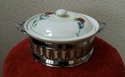Vintage Royal Rochester Fraunfelter Casserole Dish and Ornate Metal Holder Stand