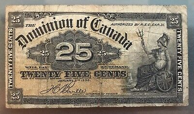 1900 Dominion of Canada 25 Cent Fractional Currency, Circulated