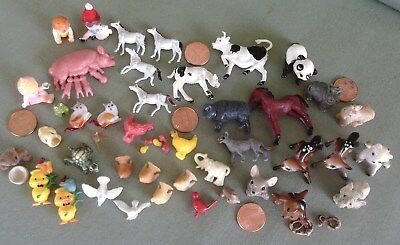 Vintage Mixed Lot Miniature Toy Farm Animals and Babies