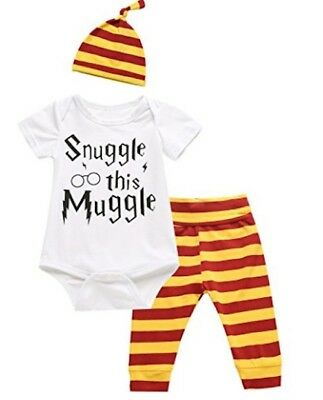 Baby Clothes 3PC Set Harry Potter Outfit Infant Boy Girl Snuggle Muggle Romper