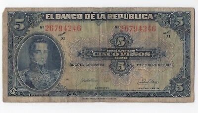 1945 Colombia 5 Pesos Banknote