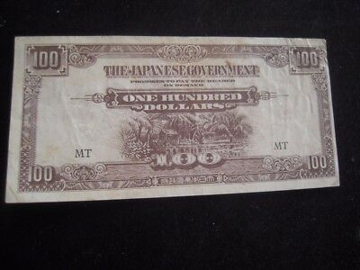 Japanese Occupied 1943 Malaysia 100 Dollar Currency