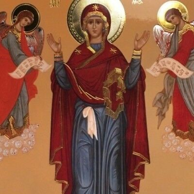 Mother of God Theotokos Virgin Mary Russian Greek Orthodox icon gilded angels