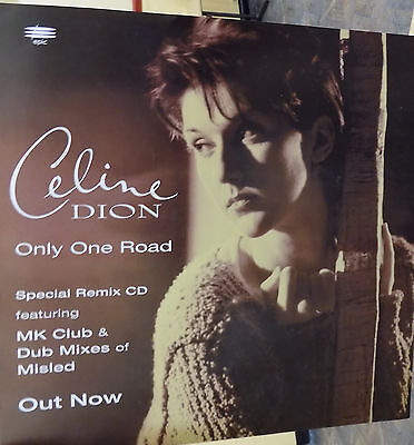 """CELINE DION Display Card Only One Road UK PROMO ONLY Rare 12"""" x 12"""" Poster ONE"""