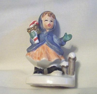 VINTAGE NAPCOWARE CHRISTMAS GIRL WITH CANDY CANE FIGURINE # x-8366