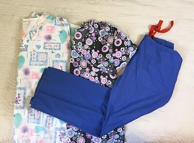 Lot Of 3: Scrubs Medical Short Sleeve Shirts Blue Pants Women Size Large