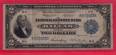 ***  1918  $2.00 Battleship Note From Dallas  Tx Rare   *****