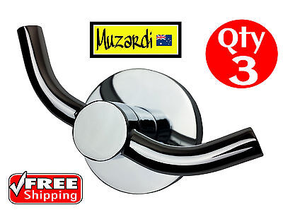 3 X Robe Hook Muzardi Designer Polished Chrome Round Bathroom Coat Double Metal