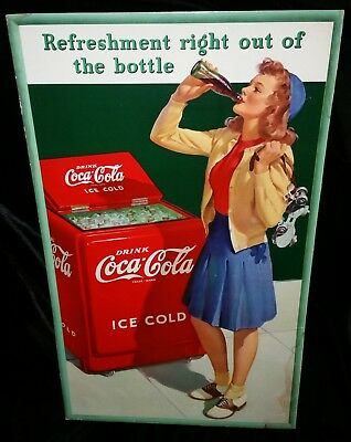 "Original 1941 Coca Cola 27 x 16"" Cardboard Sign Cooler girl"