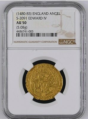 Great Britain Edward Iv Gold Angel C.1480 Ngc Nearly Uncirculated Au50-Very Rare