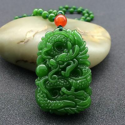 China's natural hand carved jade dragon pendant agate necklace