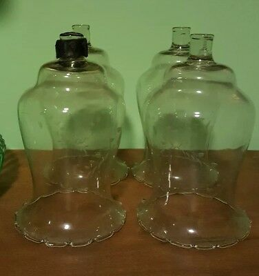 4 Vintage Clear Etched Wheat Glass Peg Candle Votive Cups Home Interiors