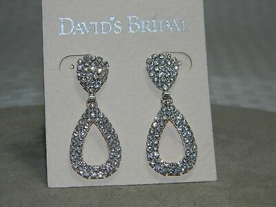 David's Bridal Silver Rhinestone Teardrop Earrings Wedding Prom
