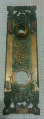 Antique vtg cast brass ornate door hardware backplate Columbian R.H. co