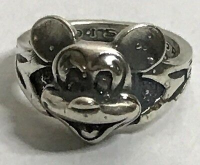 Vintage Walt Disney Production Pewter Mickey Mouse Ring 3D Pinkie Ring or Childs