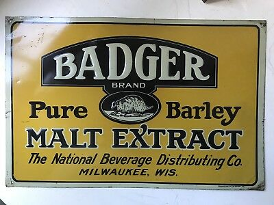 Vintage Badger Brand Barley Malt Extract Embossed Metal Sign Milwaukee Wisconsin