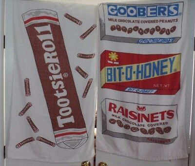 RARE Vtg Beach Towel Candy Advertiser Tootsie Roll Raisinets Goobers Bit O Honey