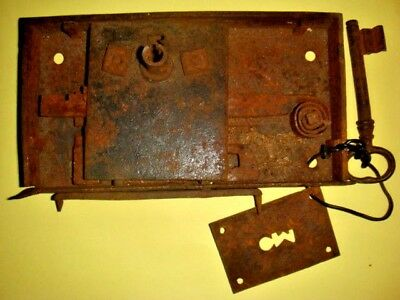 Antique Primitive Hand Made Iron Door Lock NO Maker's Mark from 1800's, OOAK