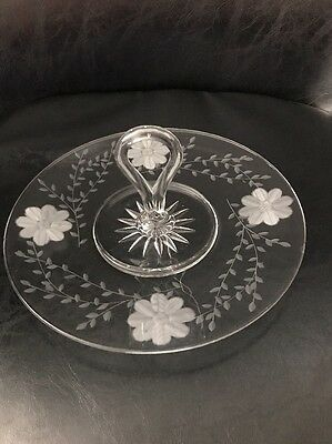 Beautiful Etched Flower Design Tidbit Tray