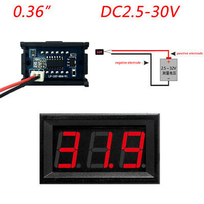 "0.36"" Digital Voltmeter Panel DC 2.50~30V Voltage Mount LED Voltmeter Red dd"