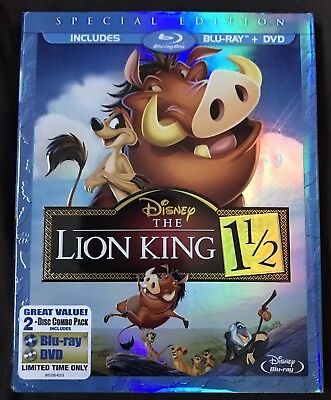 Disney The Lion King 1 1/2 Blu Ray + Dvd With Rare Slipcover Region Free
