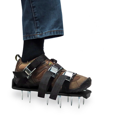 Lawn Aerator Shoes Heavy Duty Spiked Sandals Metal Buckles And 3 Straps Black