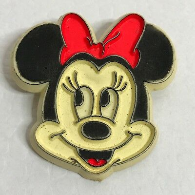 Authentic Disney Vintage Minnie Mouse Head Classic Plastic Pin Brooch 1970s Used