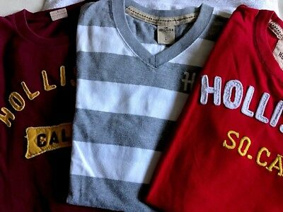 Nice LOT Of 3 HOLLISTER Men's T-shirts Sz. L Red, Gray/White Striped & Burgundy