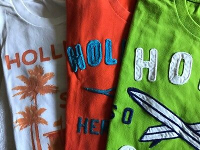 Nice LOT Of 3 HOLLISTER Men's T-Shirts Size Large: Orange, Green and White.