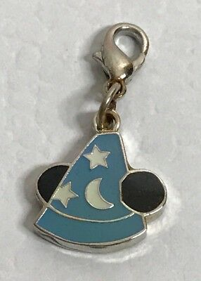 Disney Mickey Mouse Light Blue Sorcerer Hat Charm Lobster Claw Clasp Rare Used