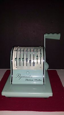 Vintage *Paymaster*Ribbon Writer :8000 ~WITH KEY AND COVER~Turquoise Retro MCM