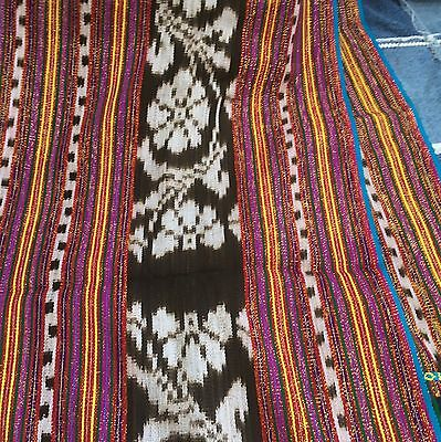"""VINTAGE Handwoven Ikat Shawl Wrap 60 X 36 """" with fringe.  Multi-Colored Stripes"""