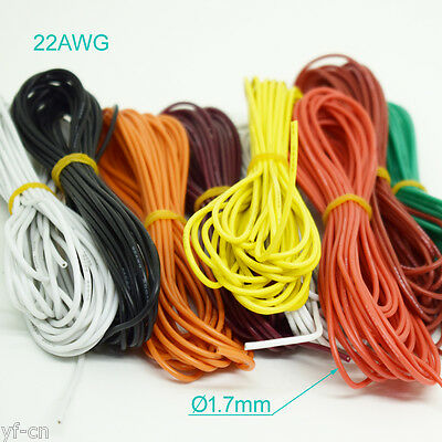 50m 22AWG Flexible Soft Silicone Wire Tin Copper RC Electronic Cable 8 Colors UK