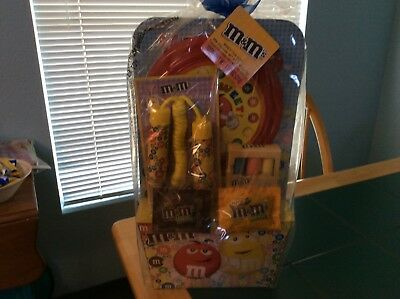 """m&m filled basket with stuff19"""" tall x 11"""" across still sealed new"""