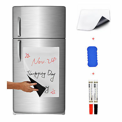 "17"" x 12"" Refrigerator Dry Erase Magnetic Message Flexible Blank White Board"