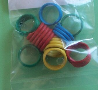 Chicken, poultry spiral Leg Rings bands (pkt 10) mixed colours