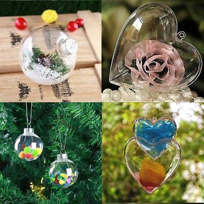 3/5/8/10Pcs Clear DIY Baubles Shatterproof Plastic XMAS Ball Home Tree Decor AU