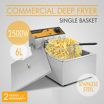 10 L Single Tank Deep Fryer Electric 2500W Cleaning Easily Steel Supermarkets