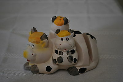 Cow Salt & Pepper Shakers with Napkin holder  - NICE!!