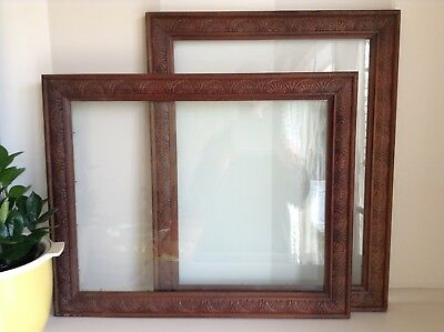 Pair Of Antique Vintage Australian Carved Wooden Picture Frames - Original.