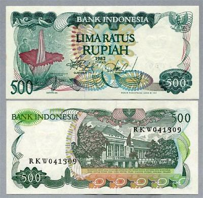 """Indonesia 1982 """"Giant Flower"""" 500 Rupiah Banknote scarce UNC - #BN565 NTO5 09"""