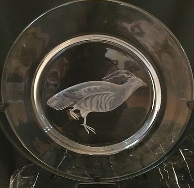 Steuben CopperWheel Engraved Audubon Series Plate: Mountain Quail