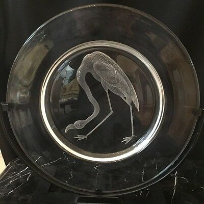 Steuben CopperWheel Engraved Audubon Series Plate: Flamingo