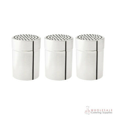3x Cheese Shaker No Handle 285mL Stainless Steel Coarse Salt Herb Dredge NEW