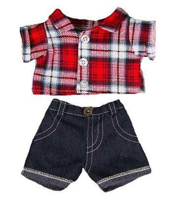 "RED CHECK SHIRT & JEANS TEDDY CLOTHES FOR 16""/40cm TEDDIES & BUILD YOUR OWN BEAR"